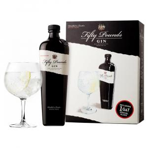 Fifty Pounds Gin 70cl Glass Gift Set