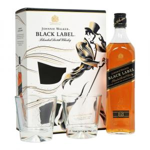 Johnnie Walker Black Label 12 Years Whisky 70cl Gift Set